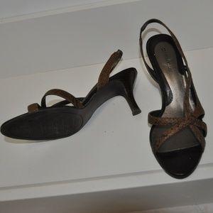 Naturalizer Brown Lizard heeled sandals